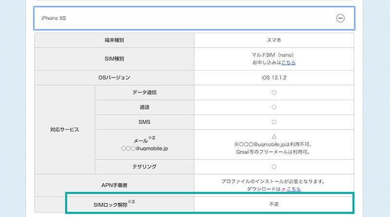 UQモバイルのiPhoneXs対応状況
