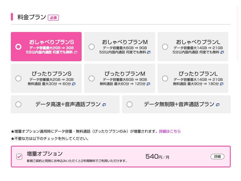 UQモバイルの申し込み画面2