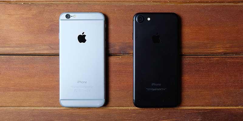 iPhone6とiPhone7の比較画像
