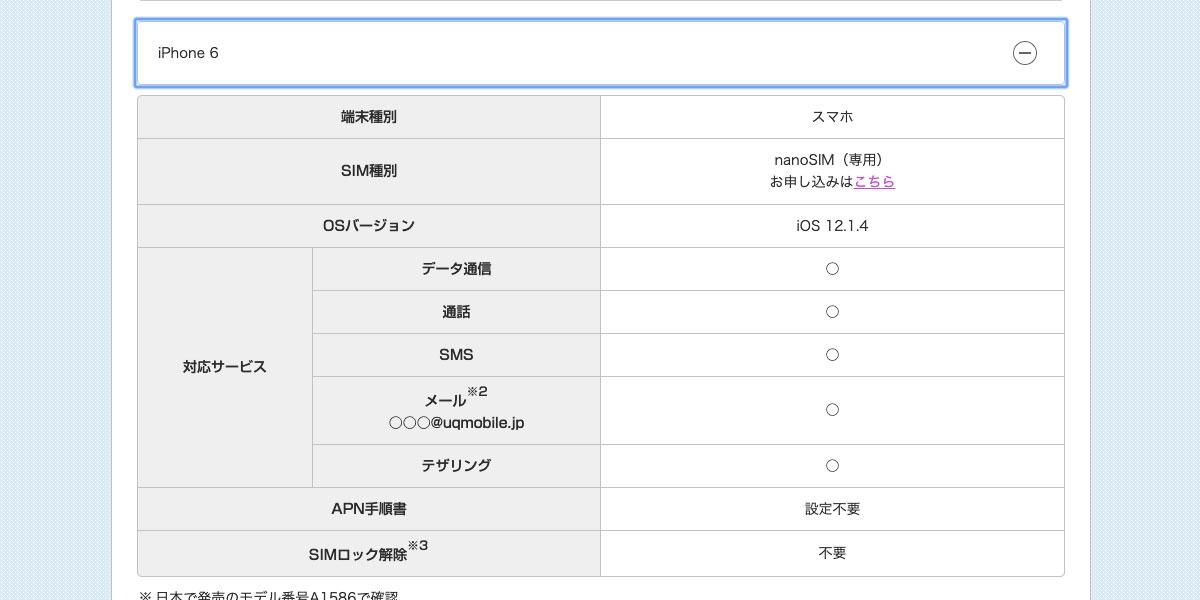UQ_iPhone6 SIMロック