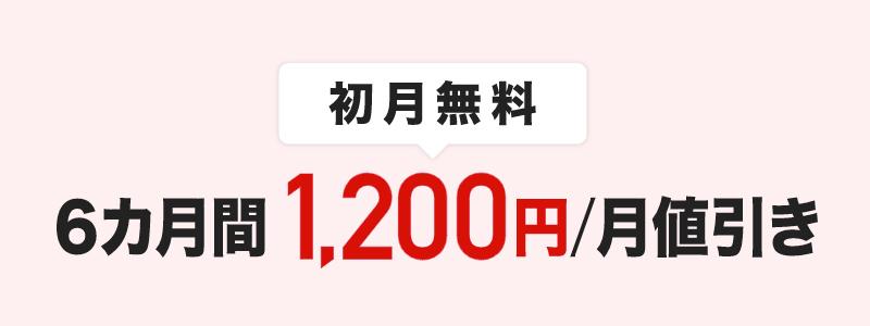 月額料金6ヶ月1,200円割引のイメージ