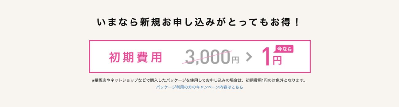 IIJmioの初期費用1円イメージ