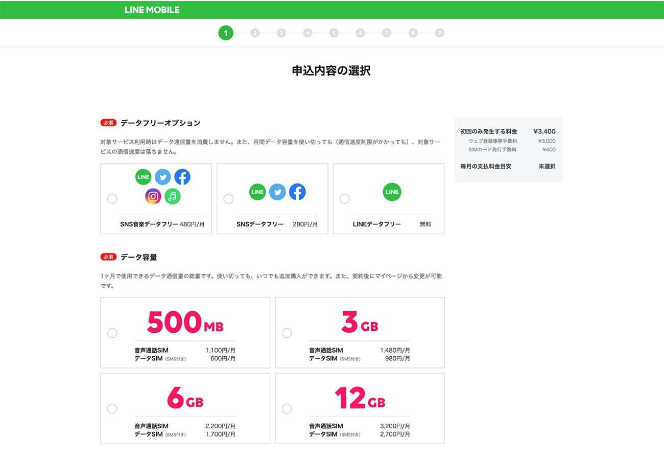 LINEモバイルのデータ容量・プラン選択