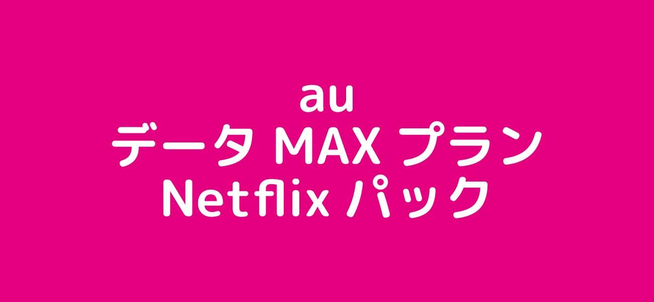 auデータMAXプランNetflixパックのイメージ